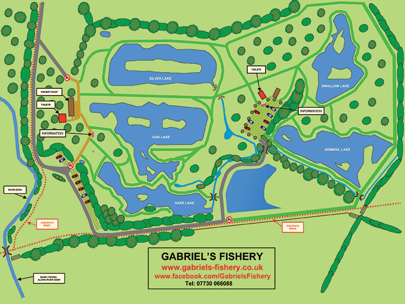 A map of Gabriel's Fishery Lakes